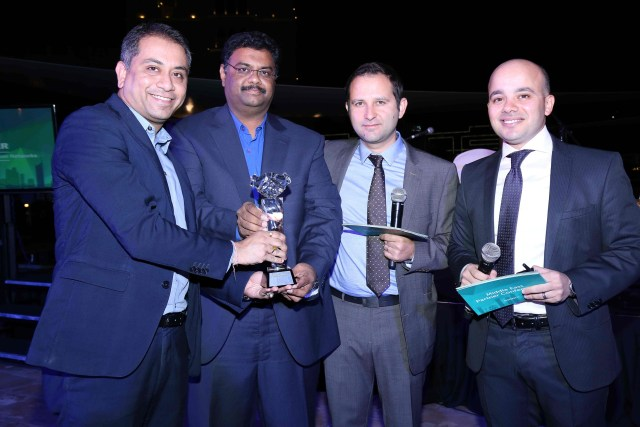 Amit Roy and Mohammed Abid Ali of Paladion receiving the award from Ovanes Mikhaylov and Ashraf Abdelazim of Kaspersk_