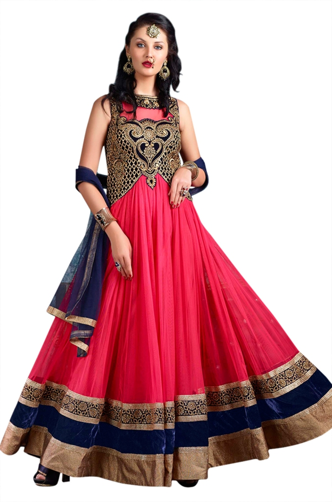 Ethnic Dukaan Hotpink Net Suit With Zari embroidery price 3570