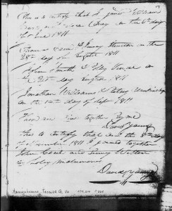 Record of William Curl and Rebecca Oney marriage