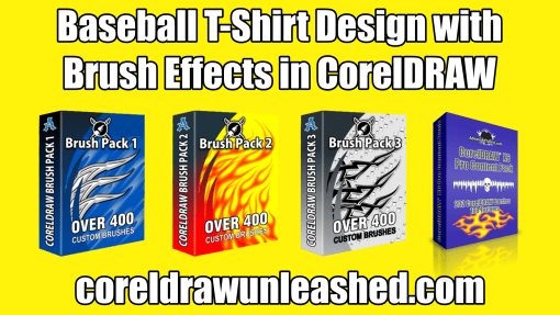 Baseball T-Shirt Design with Brush Effects in CorelDRAW