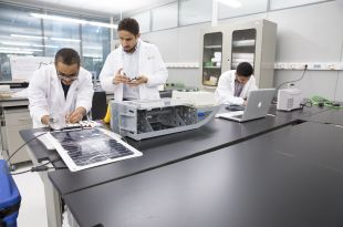 (From left to right) Mustafa Mousa, Ahmad Dehwah and Edward Canepa, all KAUST students who founded startup Sadeem at the University. Image courtesy of KAUST
