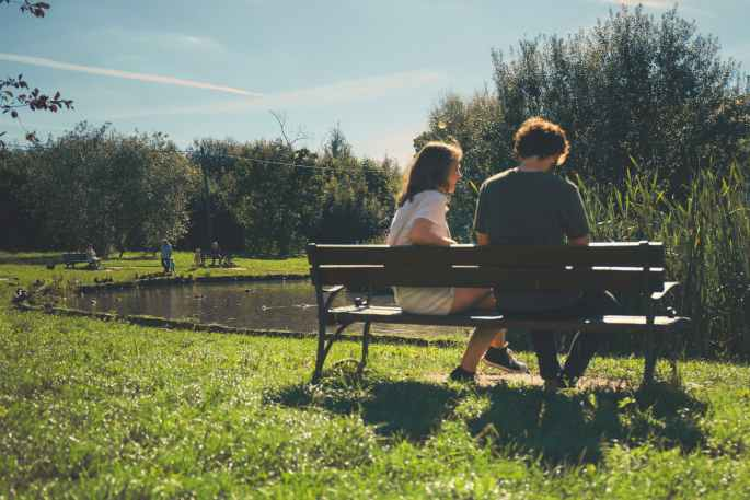 bench couple daylight environment