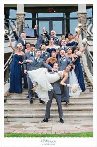 The Lake Club Wedding with Monica and Daniel in Poland  Ohio   Corey     pink and blue bridal party on stairs