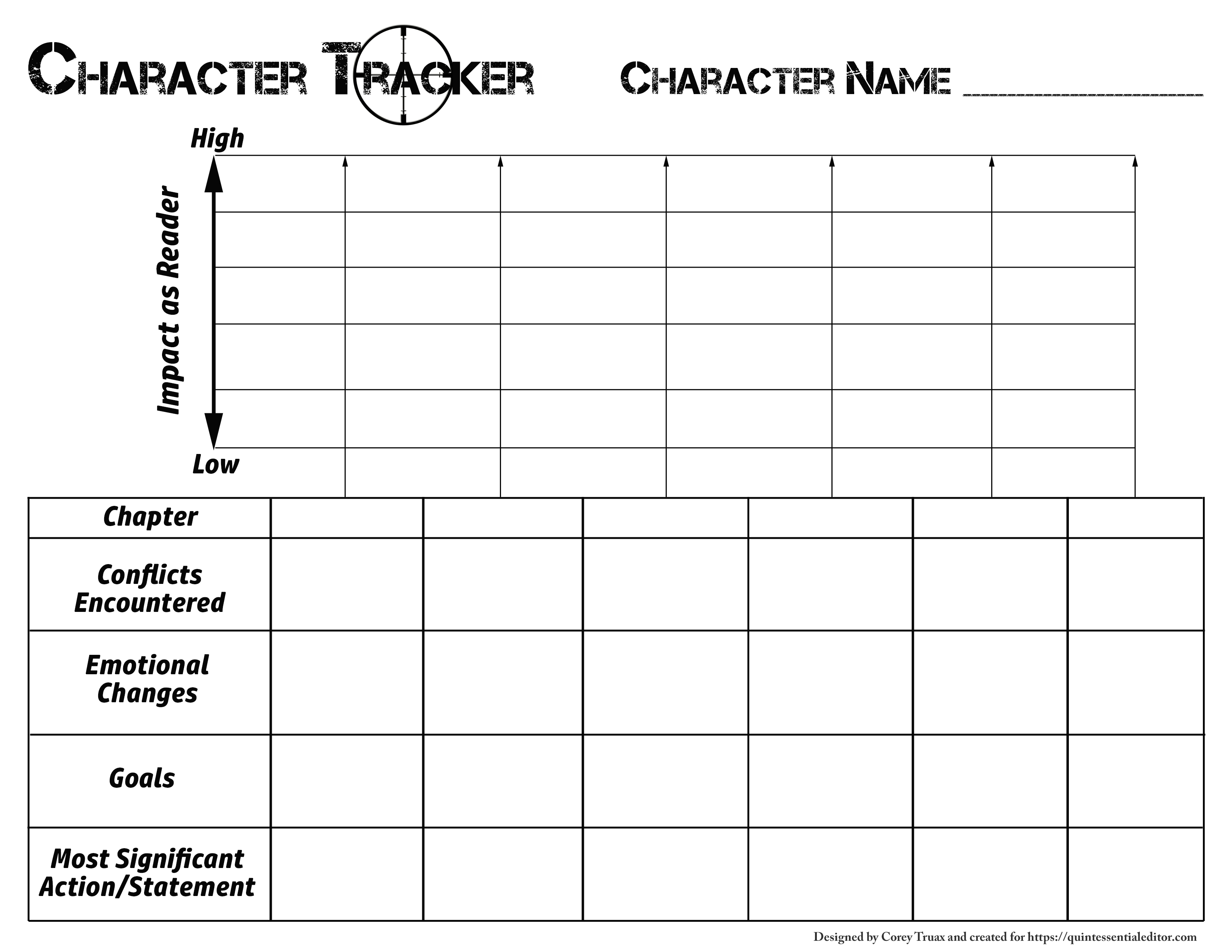 Template For Tracking Character Arcs Corey D Truax