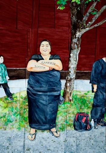 Haida Go Seek, 2013, watercolor, 94 x 67 inches