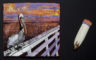 Pelican Billfold, 2011, Billfold, seed beads, pelican bill, billfold: 7 x 7.5 inches