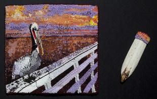 Pelican Billfold, 2011, Billfold, seed beads, pelican bill, billfold: 7 x 7.5 inches