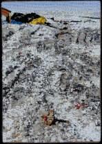Chevac Dump, 2001, Seed beads hand sewn on felt, 13 x 9 inches