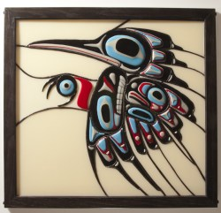 Flicker Bird 2013, Fused Glass, 26 x 28 inches