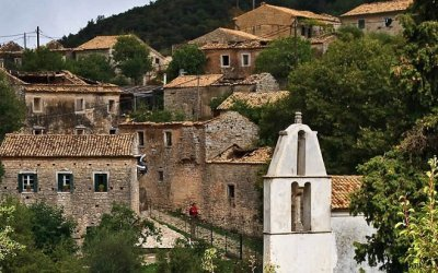 Abandoned Mansions in Ghost Village of Corfu