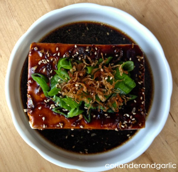Steamed Tofu with Oyster-Soy Sauce