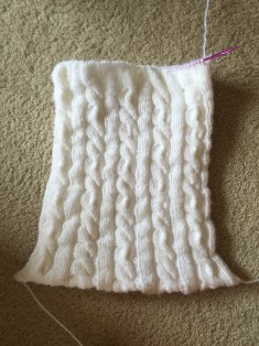 norwegian cable pillow on needles