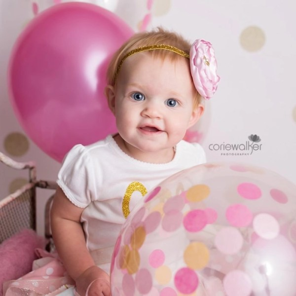 pink first birthday photos