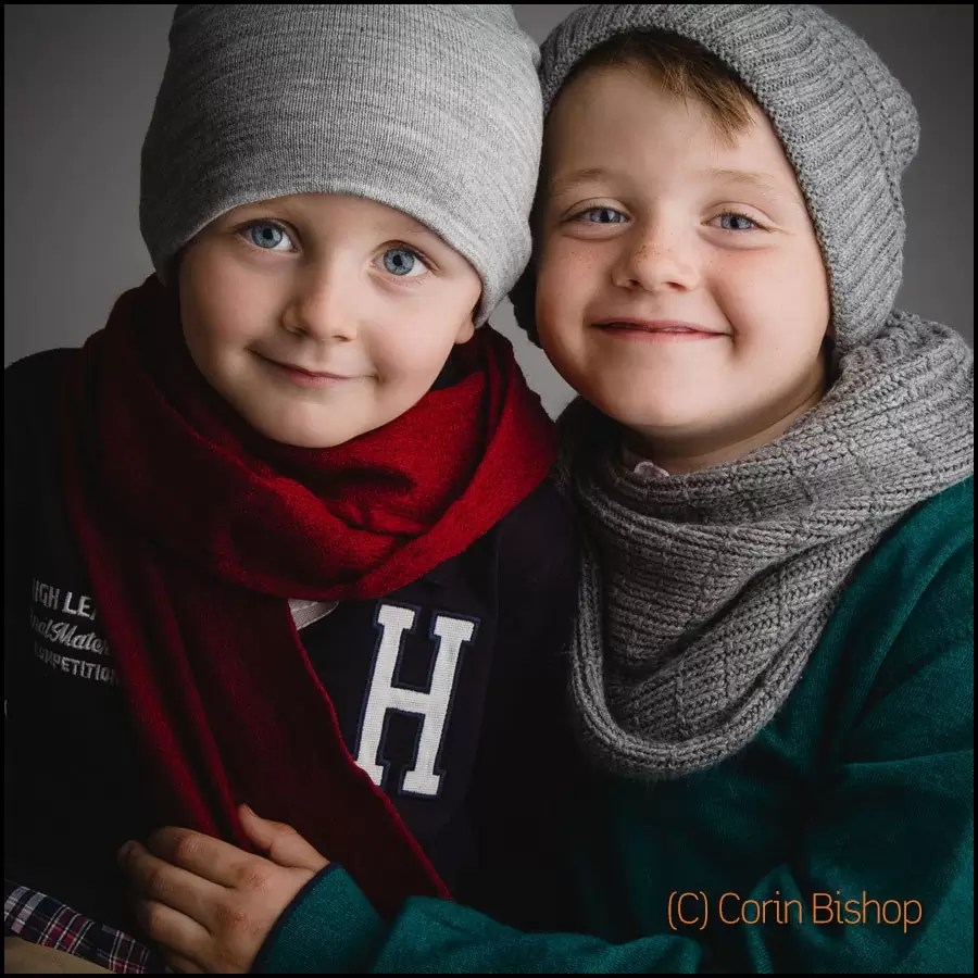 Brothers Dylan and Alex. Child Portrait in Winter Style