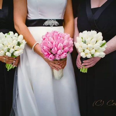 Brides Flowers and Dress Pink flowers, black bridesmaids dress