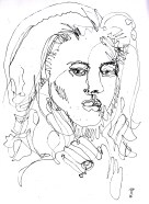 Continuous line drawing / oneliner drawing #1 face of a female