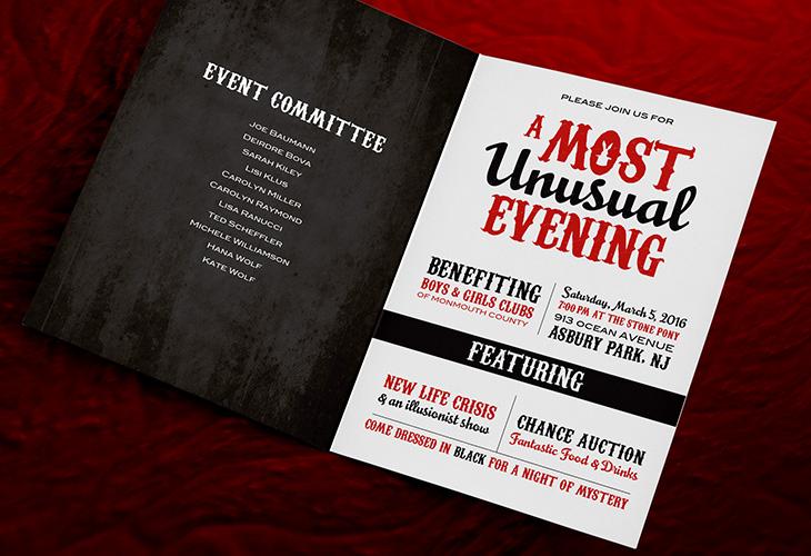 Most Unusual Evening, Boys & Girls Clubs, Monmouth County, magical design, invitation, event design, fundraiser, non-profit organization
