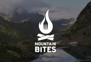 rustic resturant logo, adventure, fire, fork, mountains, bites, adirondack