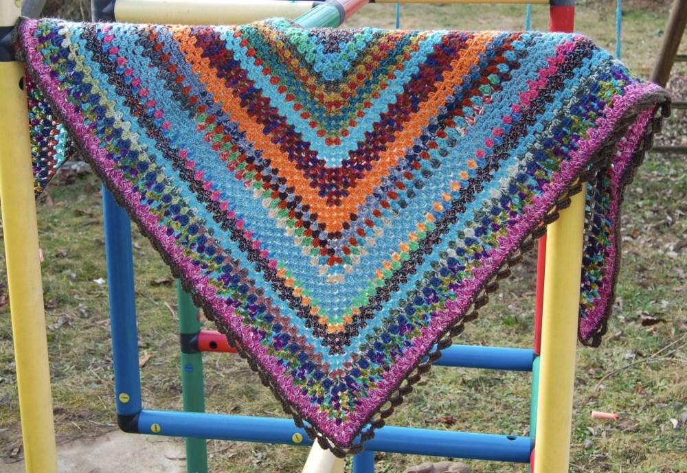 Sock Yarn Leftover Half Granny Square Shawl (1/3)