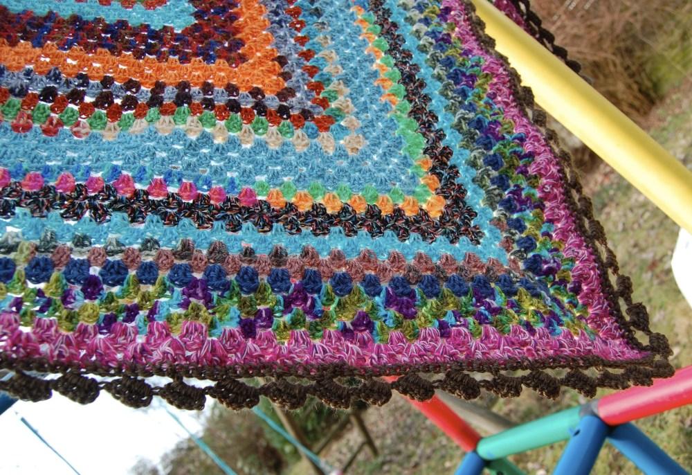 Sock Yarn Leftover Half Granny Square Shawl (3/3)