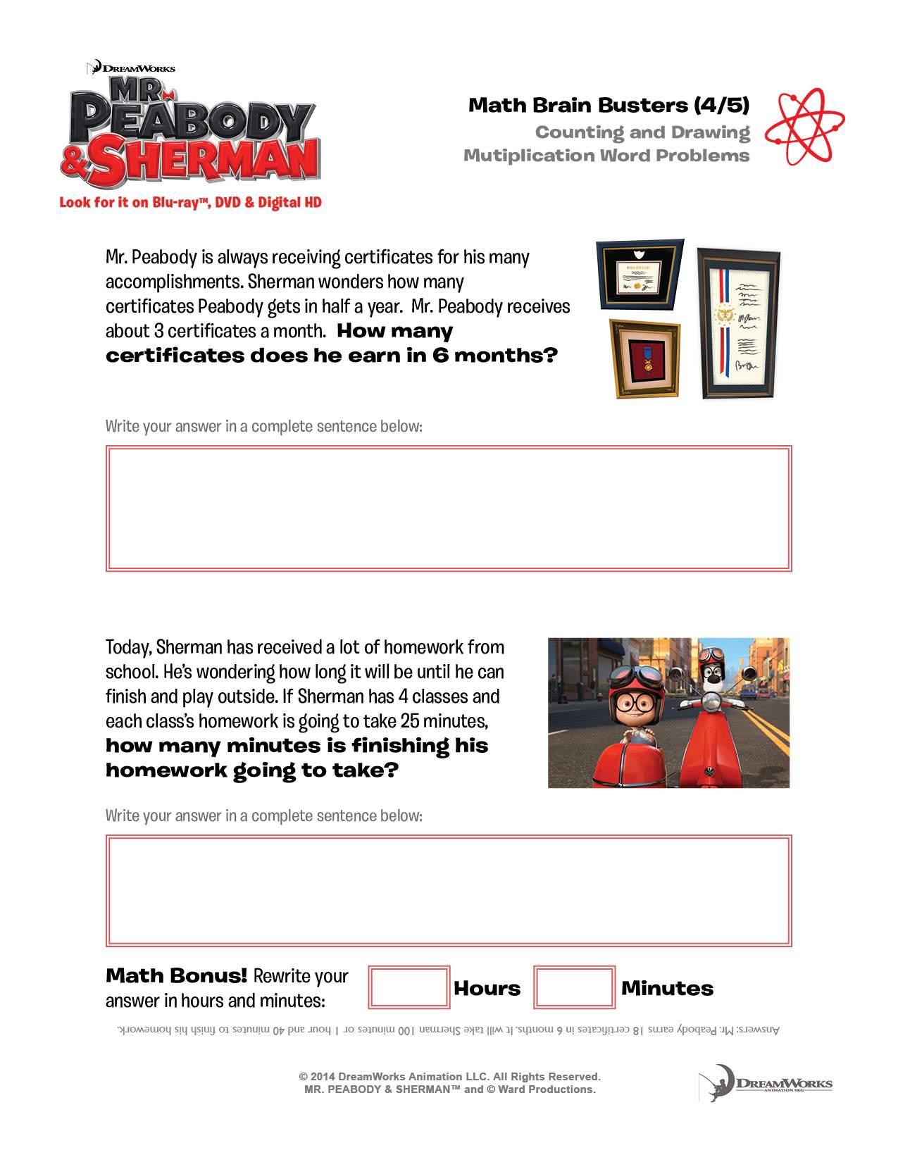 Mr Peabody And Sherman Free Printable Activity Sheets
