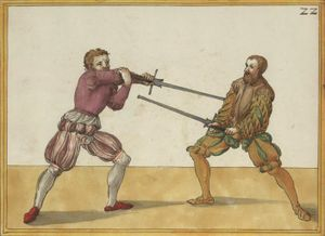 You stand with your left foot forward with arms extended in front of your face such that the point stands opposite your opponent. Then step outward with your right foot and wind the point into his face (Paulus Hector Mair, 1550)