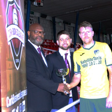 Greg Browne ( Satellite Taxis) man-of-the-match award photo