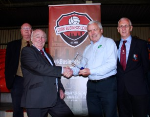 Tadgh O'Shea presenting CBL Recognition Award to ex-Referee Assessor Keith Spoonley for this contribution to the league. Also pictured is League Chairman Peter Harrington & League Registrar Joe Murphy