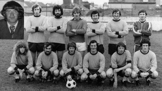Postal Workers (League Champions 1972/73) : L to R (Back) : Liam 'Pepper' Hurley (manager),(inset), Derry Hartnett, John 'Doc' Carroll, Phil O'Leary, Peter Walsh, Tom Holland. L to R (Front) : John McGrath, Tony 'Dada' Daly, Jerry Browne (capt.), Paddy Hurley, Andy Maher, Terry Ryan.
