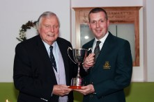Honoary President Peter Alliss being presented with the President's Cup by JP Twomey, Vice President at Castlemartyr Links Golf Club. Picture: Niall O'Shea