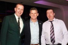 Vice President JP Twomey pictured with RTE's Greg Allan and Ray Kelleher at the Castlemartyr members evening with Peter Alliss. Picture: Niall O'Shea