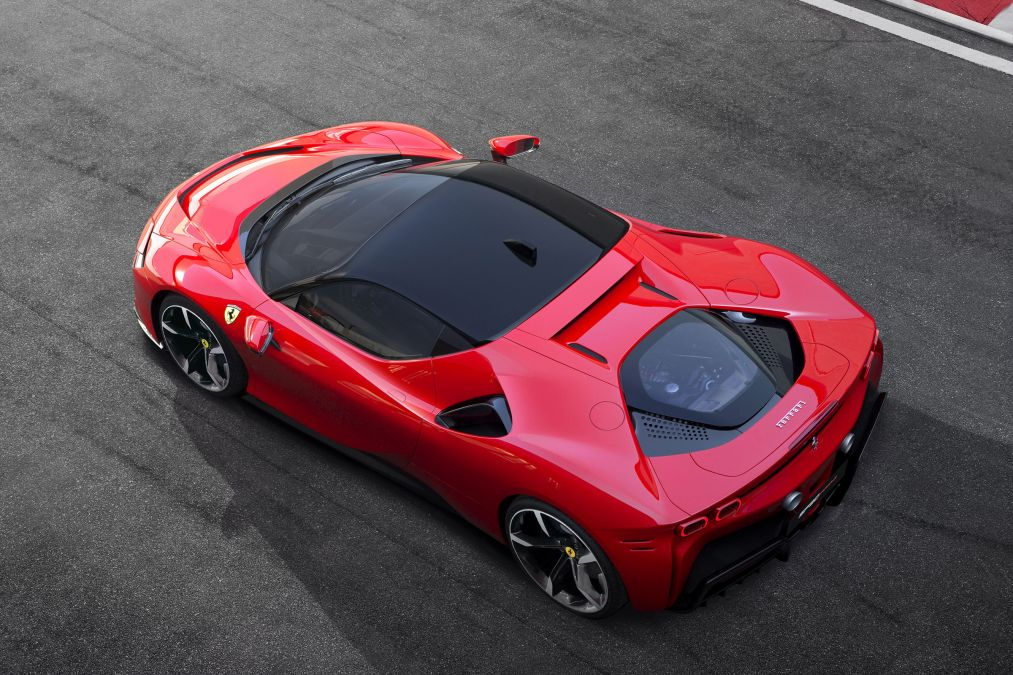 The new Ferrari SF90 Stradale seen from above