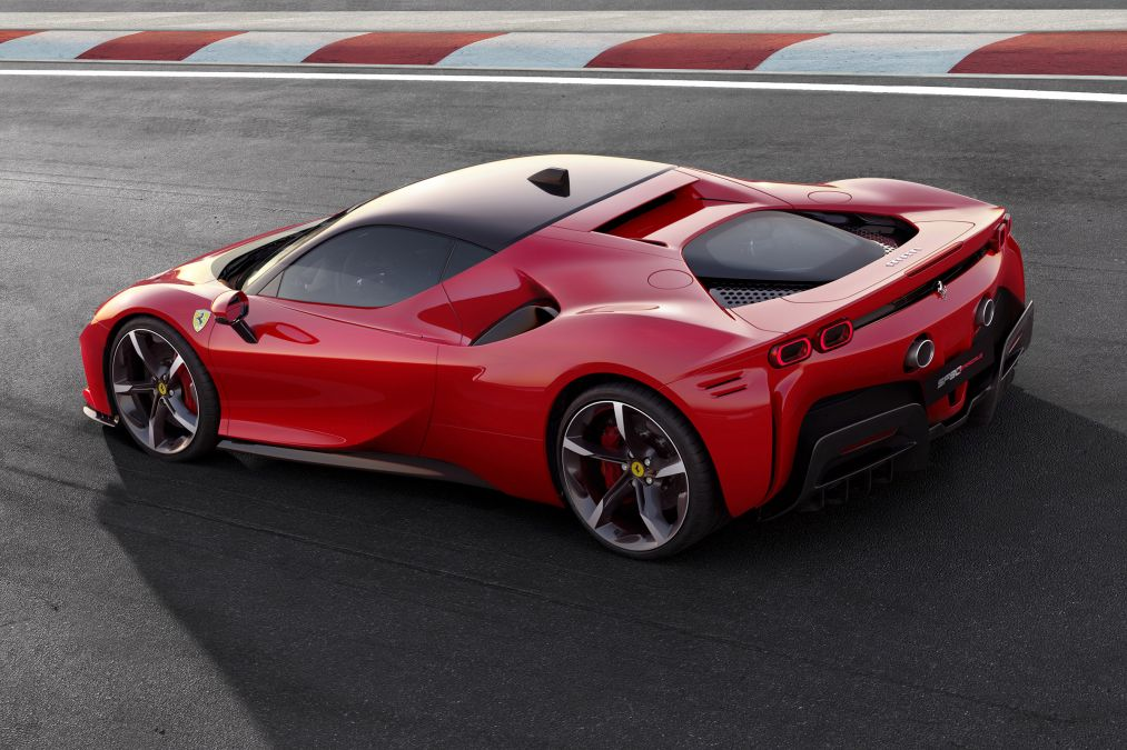 The Ferrari SF90 Stradale from the side/rear