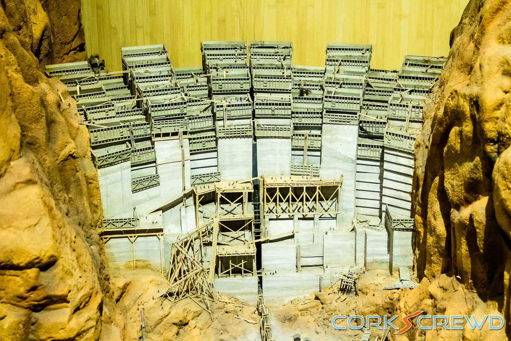 A model of the Hoover Dam being built.