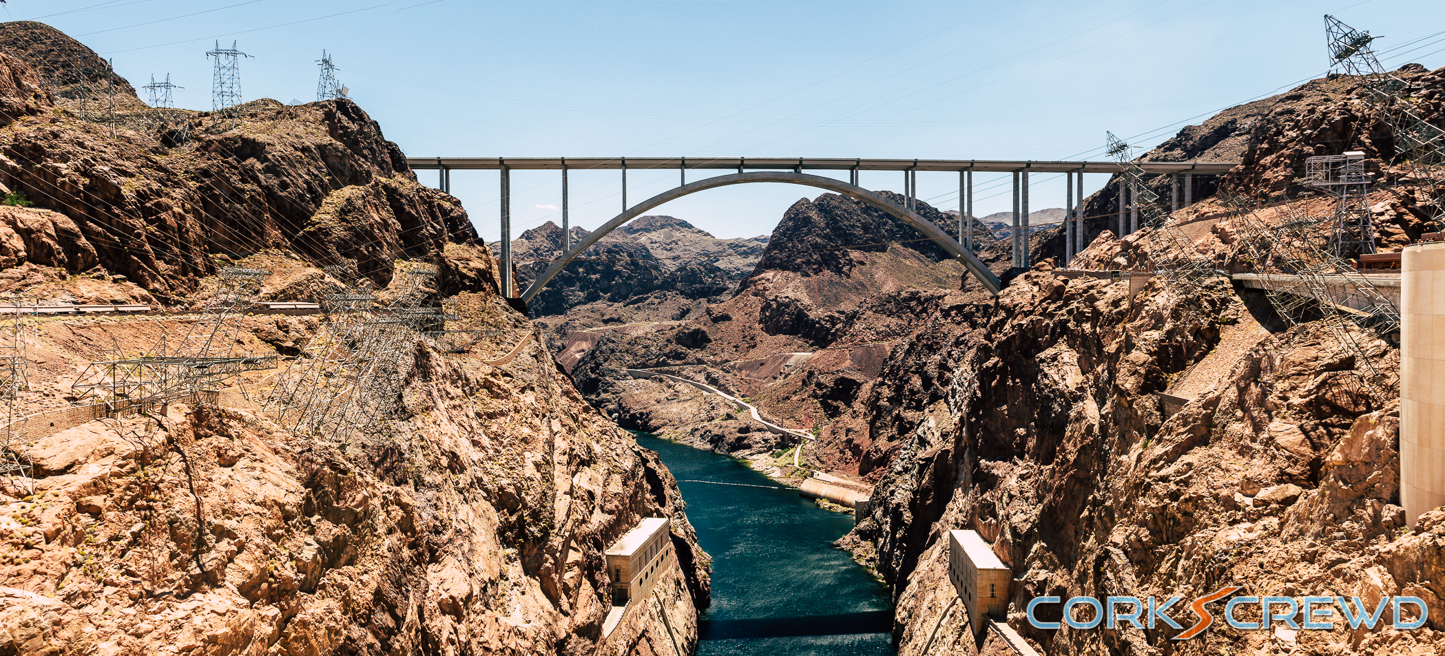 A panorama from the top of the Hoover Dam.
