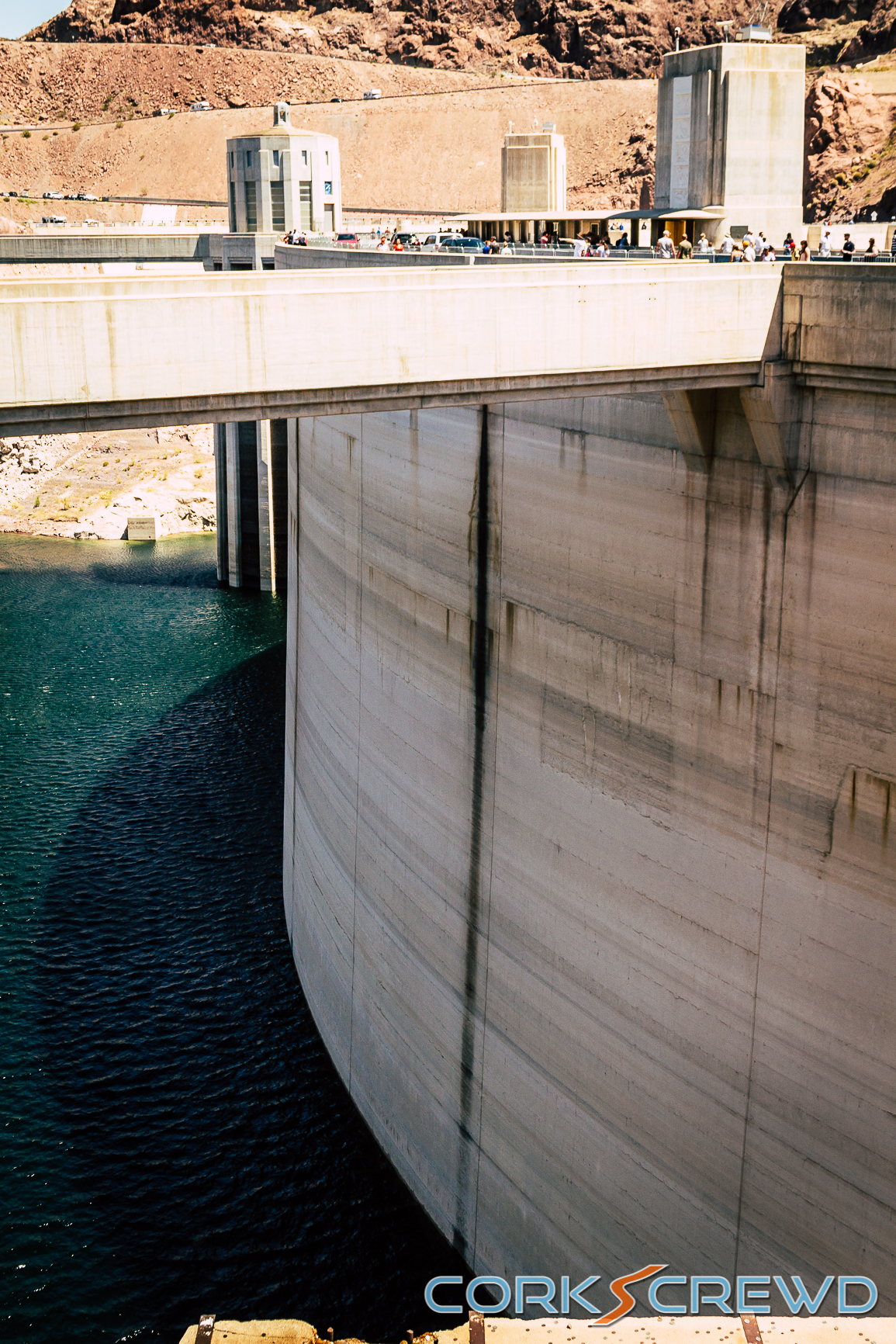 A view of the front of the Hoover Dam.