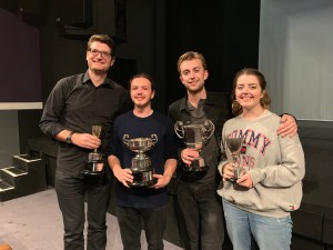 The cast with the trophies at the Cambridge Drama Festival