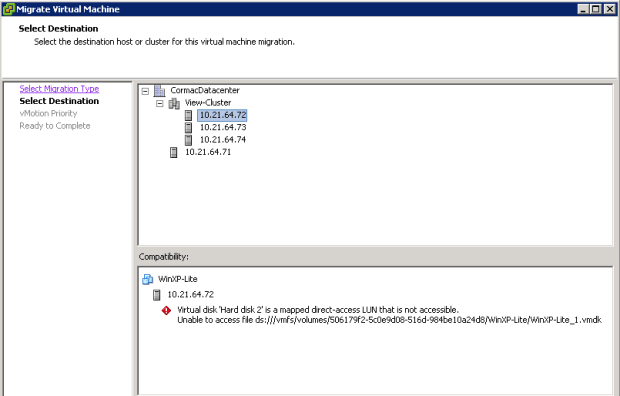 Virtual disk is a mapped direct-access LUN that is not accessible.