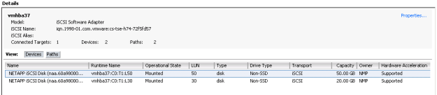 vSphere Client - Storage Adapters View