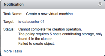VSAN - Policy Required 5 hosts