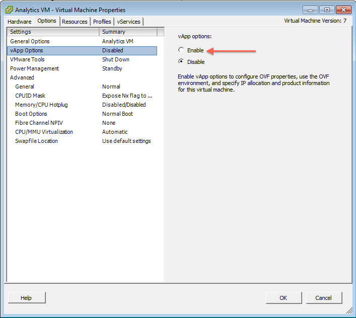 3. vApps options