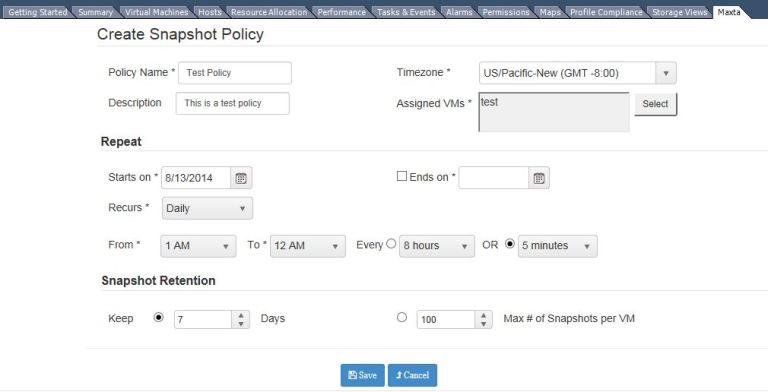 Snapshot policy
