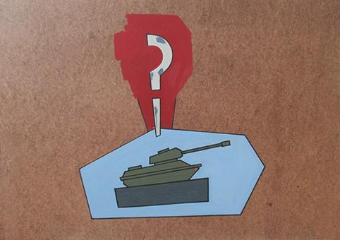 A bizonytalanság emlékműve – A tanácstalan egység (olaj, farostlemez) 60x84 cm, 2015