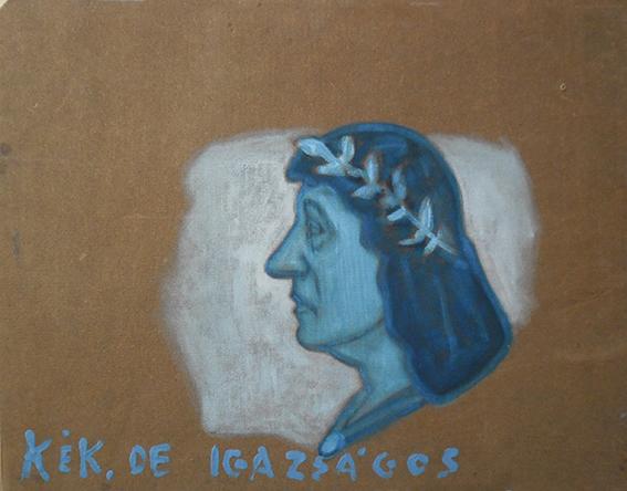 Kék de igazságos (olaj, ipari festék, farostlemez) 68x90 cm, 2014