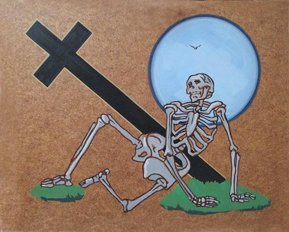 Újra felkel – Kivirágzik – Talpra áll. (olaj, farostlemez) 56x68 cm, 2015