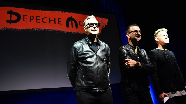 "Members of rock band Depeche Mode (from left) Andrew Fletcher, Dave Gahan and Martin Gore pose before a press conference to promote their new album ""Spirit"" on October 11, 2016 in Milan.  / AFP / GIUSEPPE CACACE        (Photo credit should read GIUSEPPE CACACE/AFP/Getty Images)"