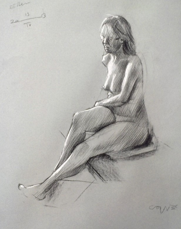 impressionistic nude pastel sketch