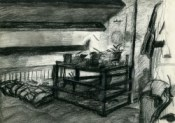 impressionistic interior charcoal drawing thumbnail
