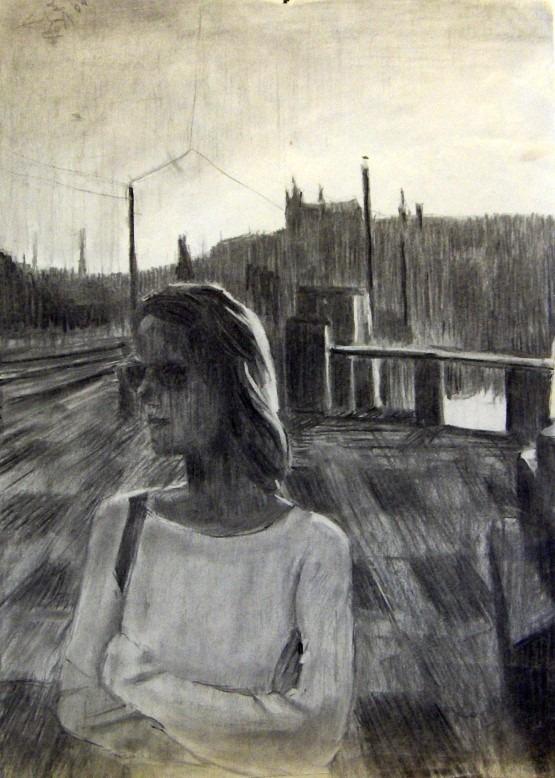 Impressionistic portrait charcoal drawing