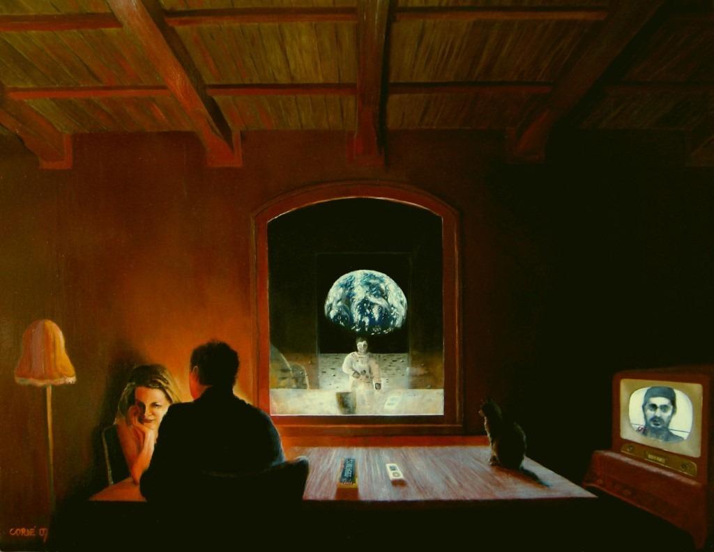 Surrealistic interior oil painting